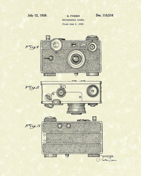 Drawing - Camera 1938 Patent Art by Prior Art Design