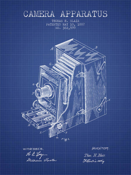 Lens Digital Art - Camera Apparatus Patent From 1887 - Blueprint by Aged Pixel