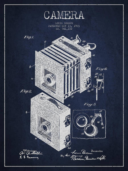 Lens Digital Art - Camera Patent Drawing From 1903 by Aged Pixel