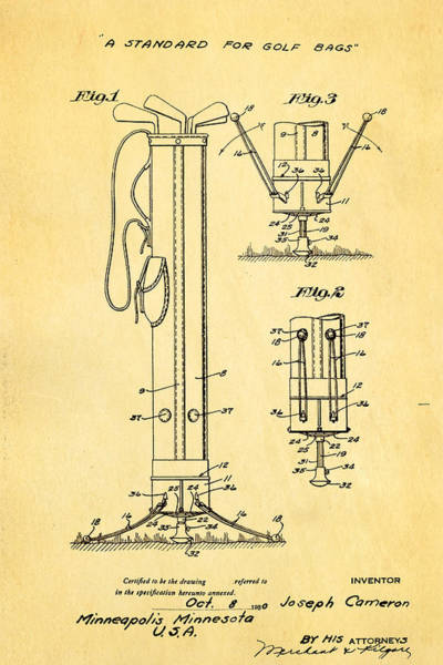 Golf Green Photograph - Cameron Stand Golf Bag 2 Patent Art 1930 by Ian Monk