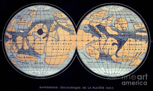 Photograph - Camille Flammarion Mars Map 1876 by Science Source