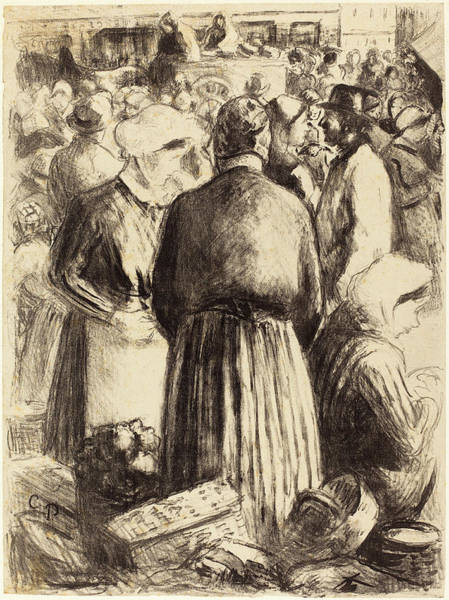 Wall Art - Drawing - Camille Pissarro French, 1830 - 1903, Market At Pontoise by Quint Lox
