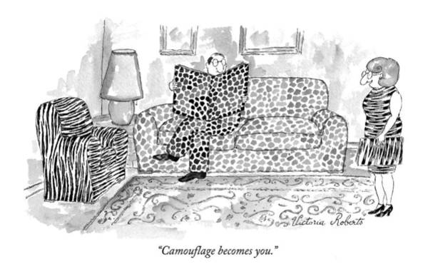 Print Drawing - Camouflage Becomes You by Victoria Roberts