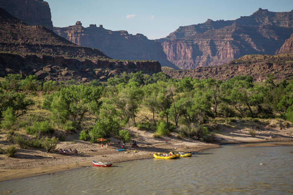 Desolation Photograph - Camp And Rafts On Bank Of Green River by Whit Richardson