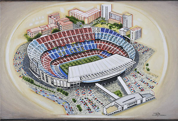 Wall Art - Painting - Camp Nou - Barcelona Fc by D J Rogers