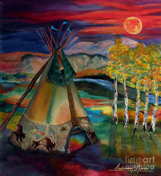 Lakota Painting - Camp Of The Hunting Moon by Anderson R Moore