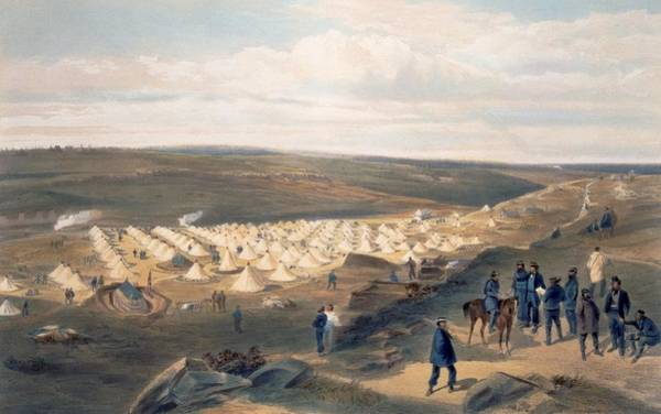 Encampment Wall Art - Drawing - Camp Of The Naval Brigade, Plate by William 'Crimea' Simpson
