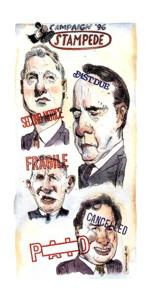 Presidential Drawing - Campaign '96 Stampede by Barry Blitt