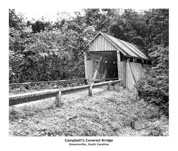 Land Mark Mixed Media - Campbell's Covered Bridge - Architectural Renderings Detail by AWellsArtworks Fine Art