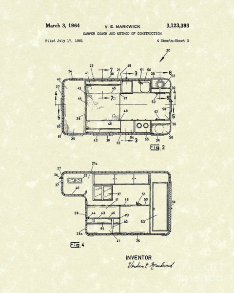 Drawing - Camper Coach 1964 Patent Art by Prior Art Design