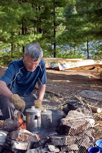 Campsite Wall Art - Photograph - Camper Cooking Breakfast by Jim West