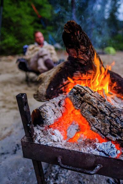 Wall Art - Photograph - Campfire On Beach, Salmon River, Idaho by Kyle Ledeboer