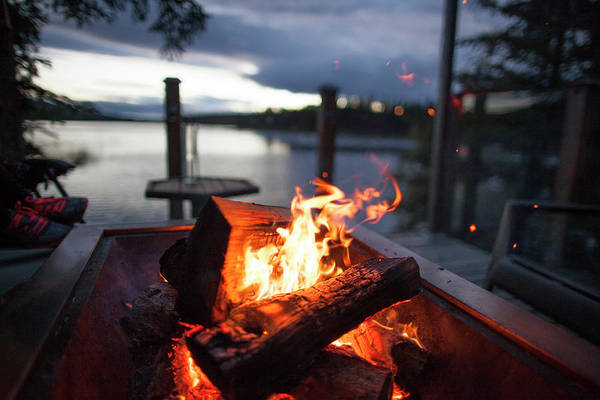 Wall Art - Photograph - Campfire On Lakeshore At Evening by Christopher Kimmel