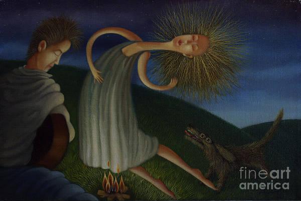 Wall Art - Painting - Campfire Serenade 2001 by Lawrence Preston