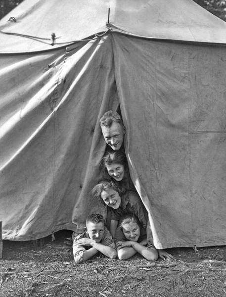 Idyll Photograph - Camping Family Portrait by Underwood Archives