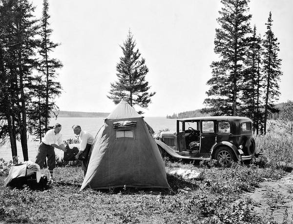 Camping Photograph - Camping In Canada by Underwood Archives