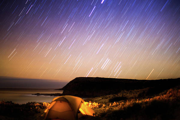 Tent Photograph - Camping In Tent Under Star Trails In by Robert Lang Photography