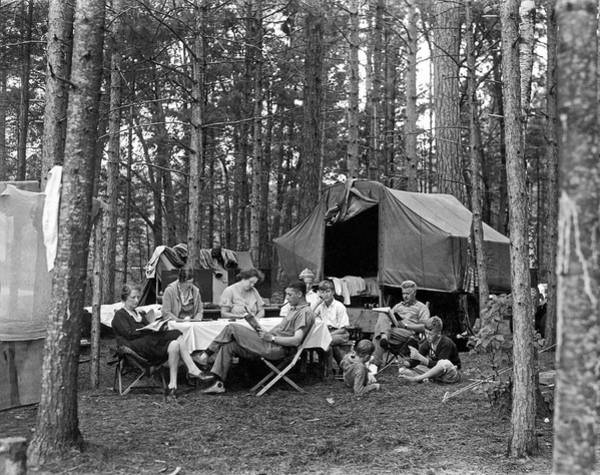 Camping Photograph - Camping In The Woods by Underwood Archives