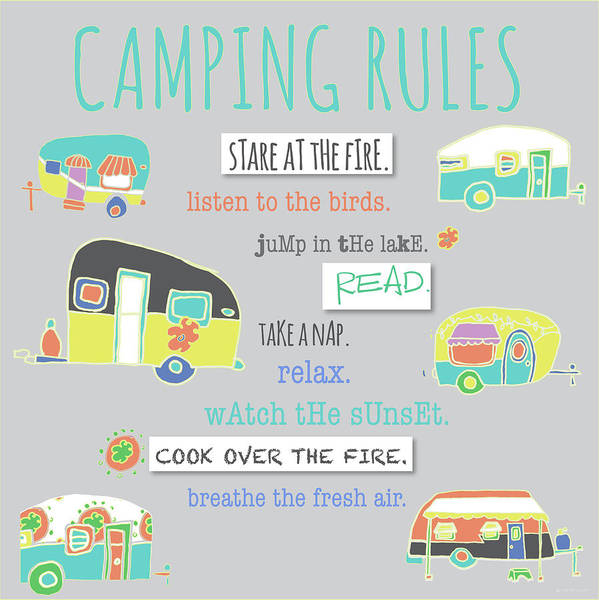 Camping Wall Art - Painting - Camping Rules by Pamela J. Wingard