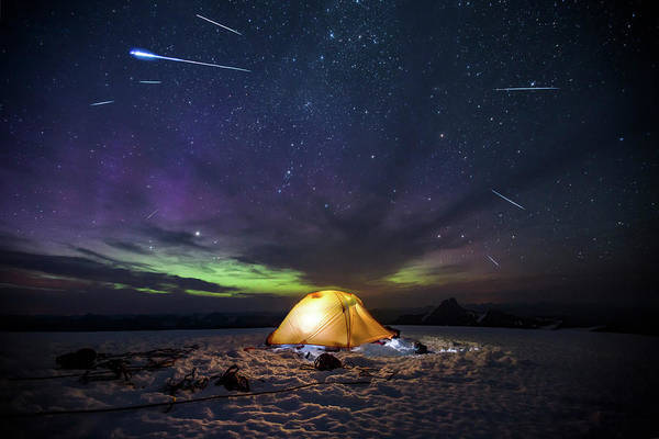 Mounted Shooting Photograph - Camping Tent At Night, Mount Robson by Paul Zizka