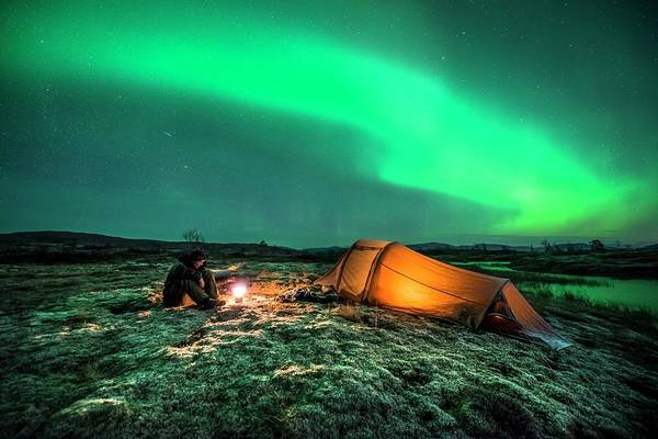 Campsite Wall Art - Photograph - Camping Under The Aurora Borealis by Tommy Eliassen/science Photo Library