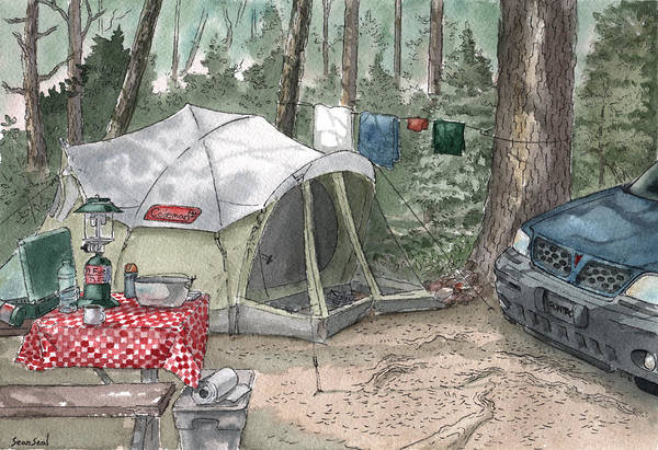 Campsite Wall Art - Painting - Campsite by Sean Seal