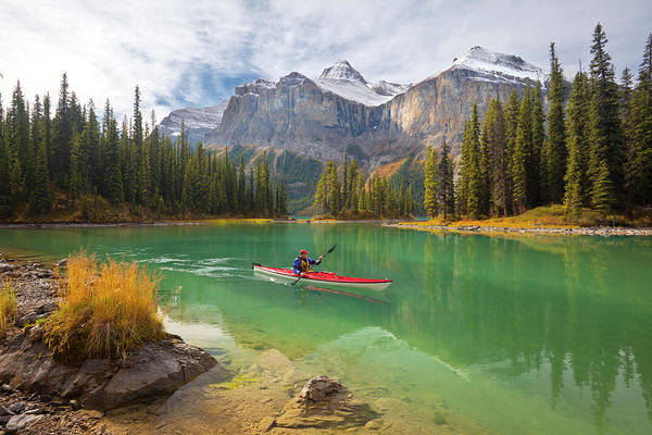 Kayaks Wall Art - Photograph - Canada, Alberta, Jasper National Park by Gary Luhm