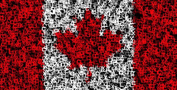 Vancouver Digital Art - Canada Flag Text by Daniel Hagerman