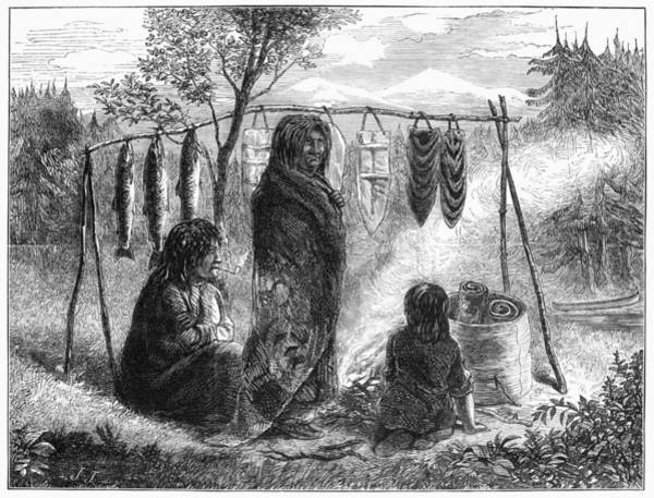 Native American Blanket Painting - Canada Native Americans by Granger