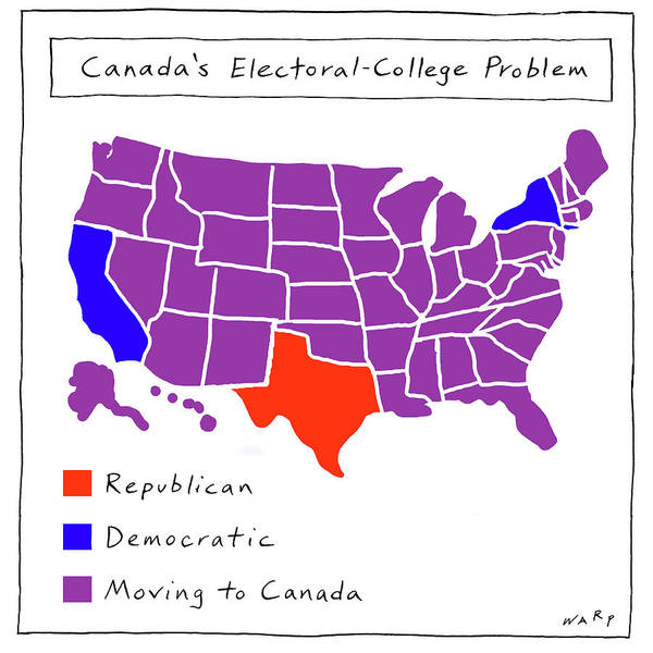 2016 Election Drawing - Canada's Electoral-college Problem by Kim Warp