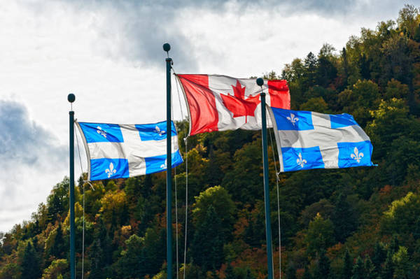Photograph - Canadian And The Quebec Flag  by U Schade