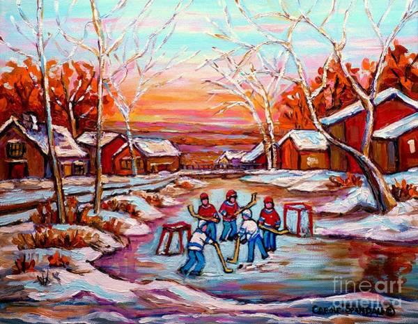 Boys Playing Hockey Painting - Canadian Art Pond Hockey Winter Near The Village Landscape Scenes Carole Spandau by Carole Spandau