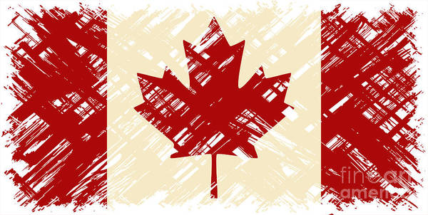 Wall Art - Digital Art - Canadian Grunge Flag. Vector by Khvost