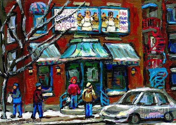 Painting - Canadian Urban Winter City Scenes Paintings Fairmount Bagel Shop Montreal Art Carole Spandau by Carole Spandau