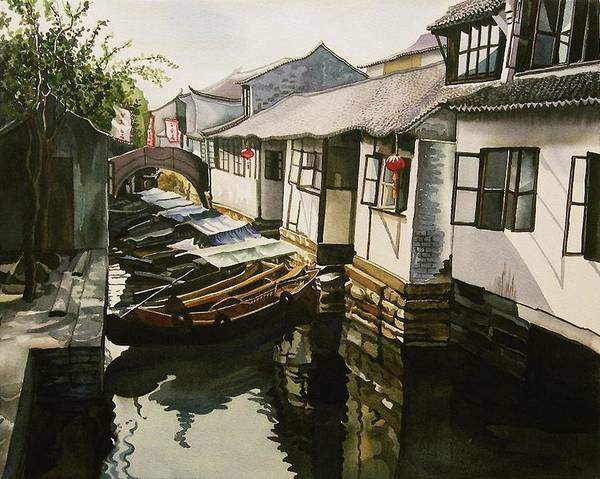 Painting - Canal At The Water Village by Alfred Ng