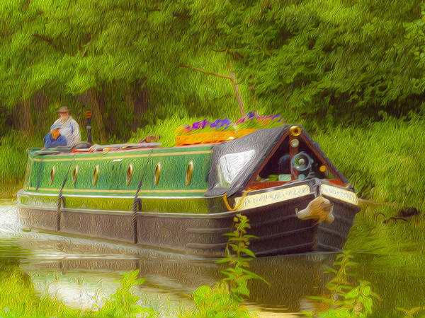 Wall Art - Digital Art - Canal Boat Wey Navigation Surrey by Clive Eariss