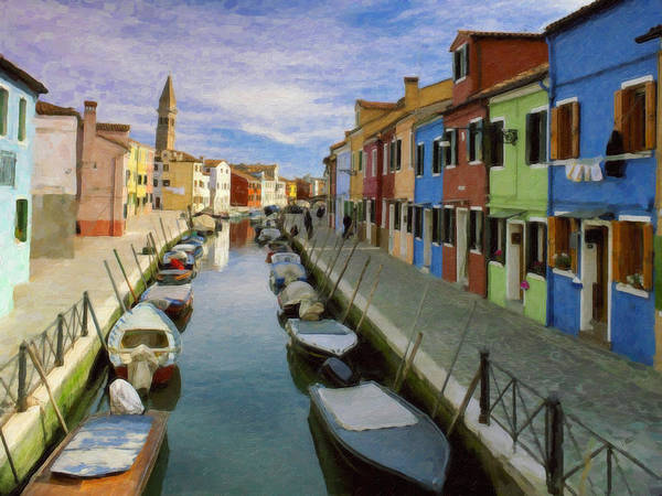 Painting - Canal Burano  Venice Italy  by Dean Wittle