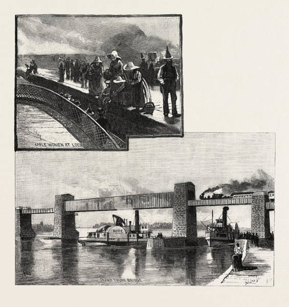 Wall Art - Drawing - Canal Lock, And Railway Bridge At Ste by Canadian School