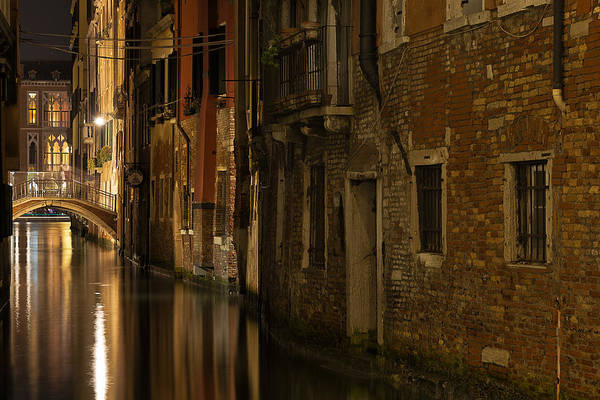 After Dark Photograph - Canal Reflections by Marion Galt