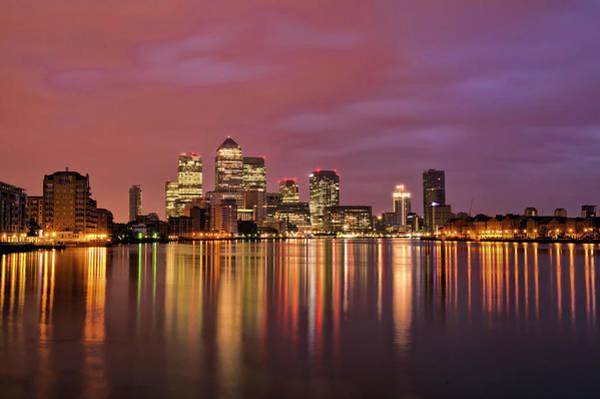 Canary Wharf Photograph - Canary Wharf Sunrise Down The Thames by Esslingerphoto.com