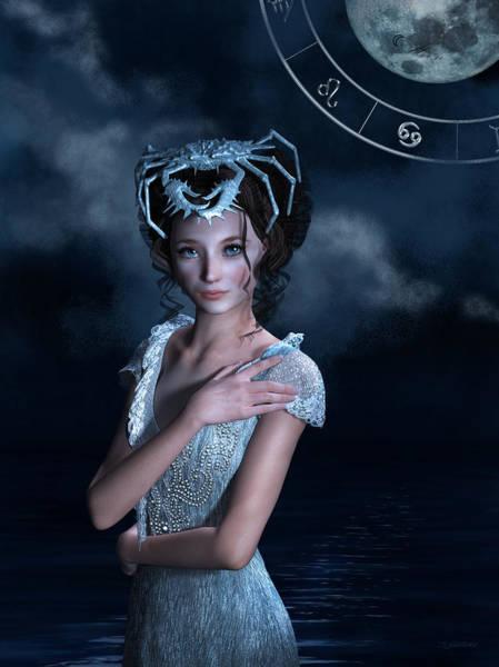 Wall Art - Mixed Media - Cancer Zodiac Fantasy by Britta Glodde