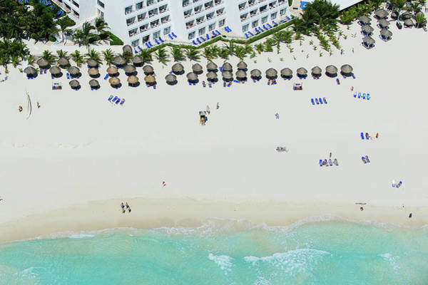 Beach Holiday Photograph - Cancun Beach With Sunbathers by Tommy Clarke