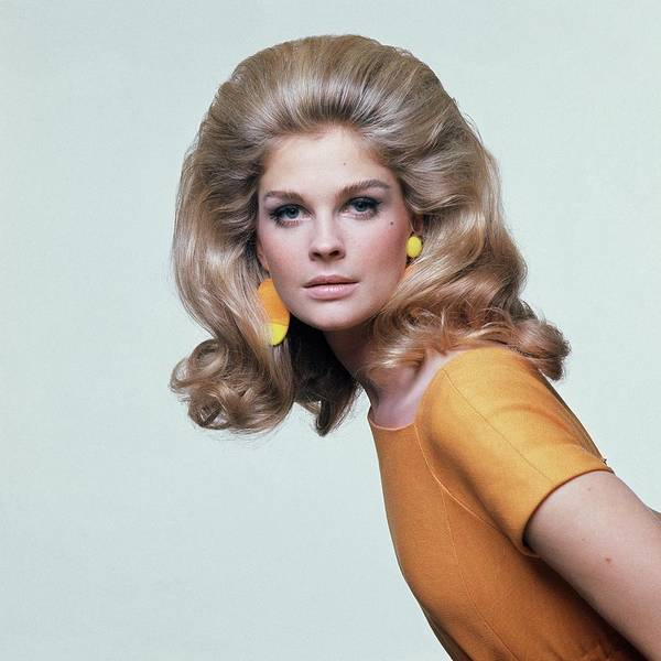 Yellow Background Photograph - Candice Bergen Wearing Mimi Di N Earrings by Bert Stern