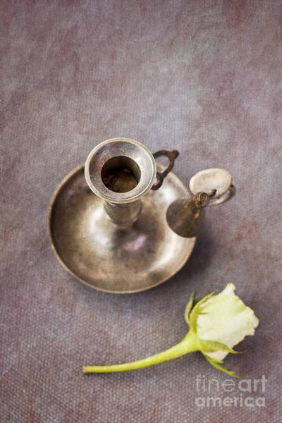 Photograph - Candle And Rose by David Lichtneker