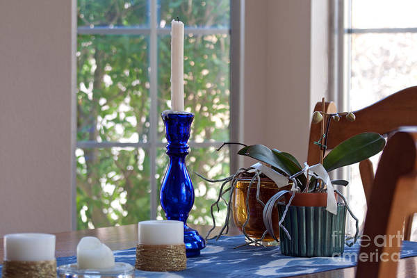 Photograph - Candle Holder On Dining Table by Gunter Nezhoda