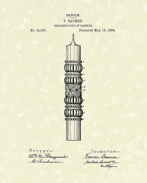 Drawing - Candle Ornamentation 1884 Patent Art by Prior Art Design