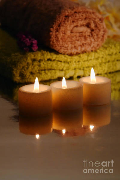Wall Art - Photograph - Candles And Towels by Olivier Le Queinec