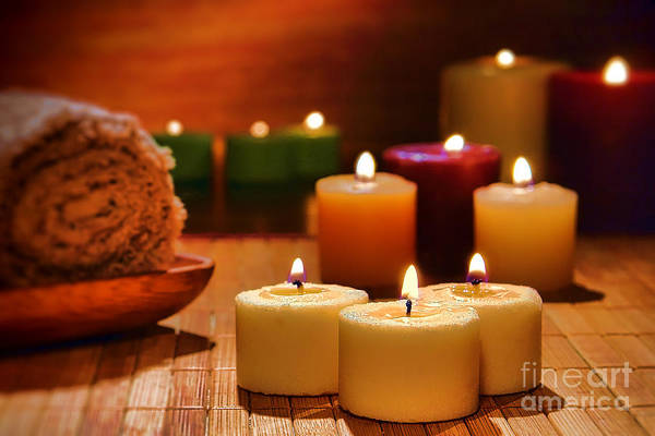 Photograph - Candles Burning In A Spa  by Olivier Le Queinec