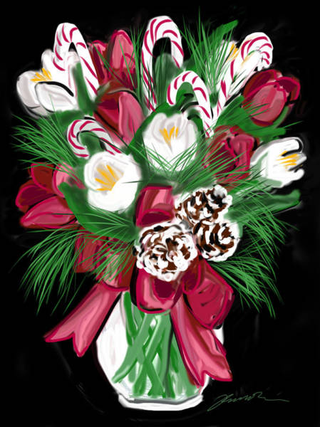 Painting - Candy Cane Bouquet by Jean Pacheco Ravinski