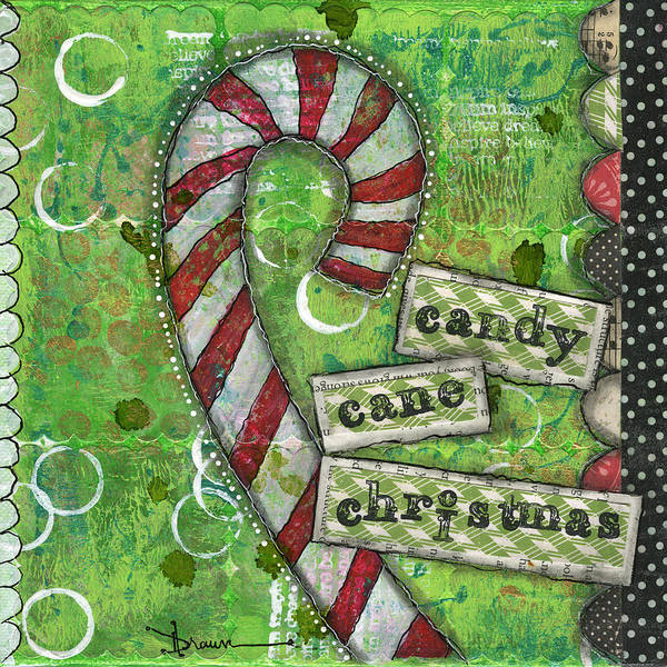 Candy Painting - Candy Cane Christmas by Denise Braun